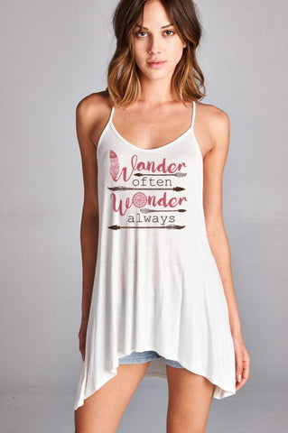 Wander Often - Hi-Low Spaghetti Strap Tank