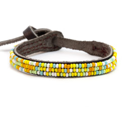 Bracelet - Single Wrap Leather with solid glass seed bead - Kenya Collection