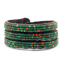 Bracelet - Three Warp Leaterh Bracelet with mixed glass seed bead - Kenya Collection