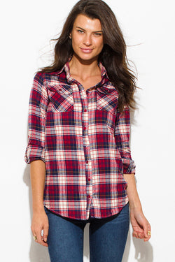 Perfect Rustic look Button-Up Long Sleeve Flannel Top
