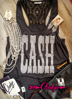 Cash Vintage Black Lace Back Tank with Silver Shimmer Print