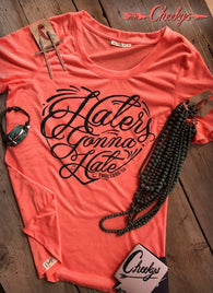 Haters Gonna Hate Peach Scoop Tee With Coal Mine Print