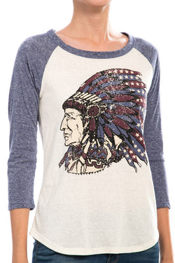 Colorful Apache Print Raglan Casual Top