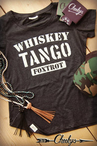 Whiskey Tango Foxtrot Vintage Black Scoop Tee with Bone Print