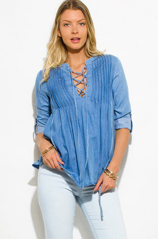 Chambray Pleated Lace-up Blue Denim Rolled Sleeve Top