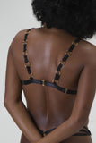 Triangle mesh gold hoop bra back