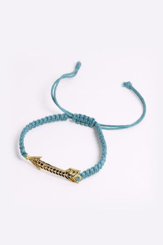 Alva - Teal Rope Bracelet With Gold Plated Arrow Pendant - full