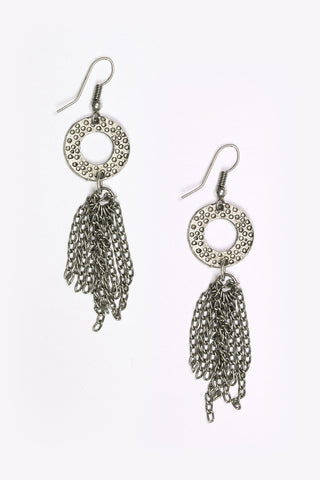 Avana - Silver Disc & Tassel Chain Earrings Full Image