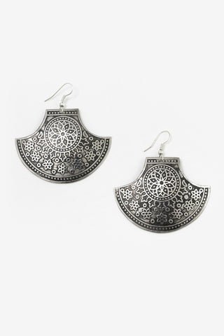 Braye - Metallic Half Moon Tribal Earrings Full Image
