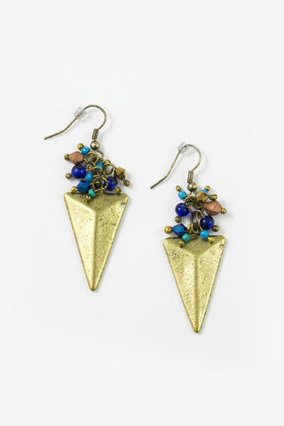 Chari - Matte Gold Plated Arrowhead Pendant Earrings Full Image