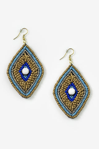 Cuanza - Blue & Matte Gold Beaded Diamond Earrings Full Image