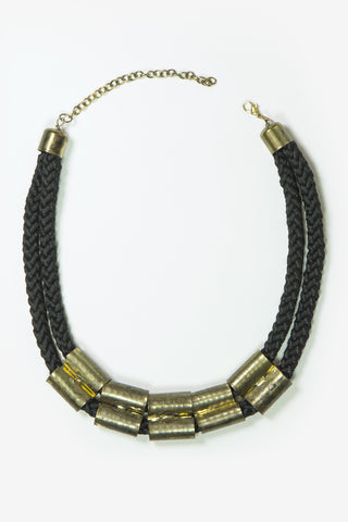 Dahlia - Black Rope & Statement Gold Piece Necklace