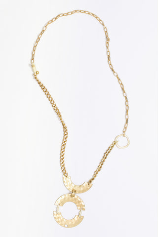 Daphne - Gold Plated Tribal Statement Pendant Necklace