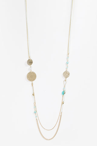 Edith - Turquoise & Gold Layered Beaded Necklace