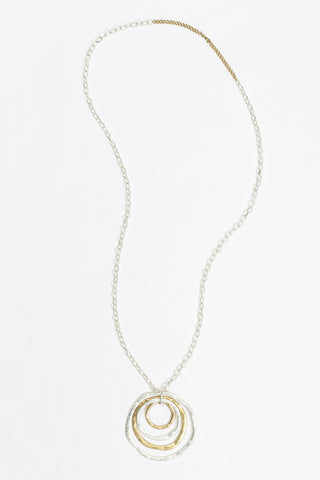 Ellen - Matte Silver & Gold Plated Hoop Necklace