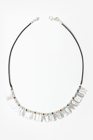 Elsa - Matte Silver Beaded Leaf Rope Necklace
