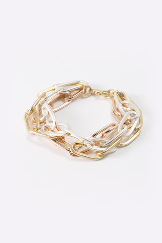 Erina - Metallic Linked Chain Bracelet - 3/4 view