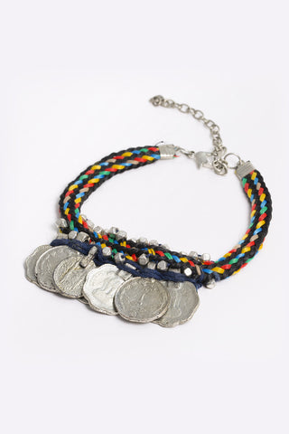 Evanthe - Multicoloured Rope Bracelet With Silver Coin Trim - 3/4 view