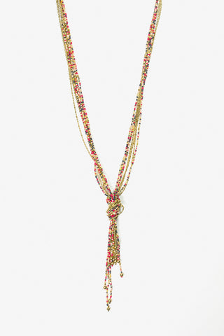 Her Curiosity multicoloured beaded necklace with knot pendant full image