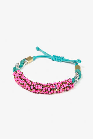 Her Curiosity's bright pink and teal beaded Aedon Bracelet 3/4 image