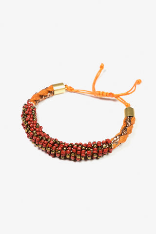 Her Curiosity bright orange and red beaded Anrgo bracelet 3/4 image