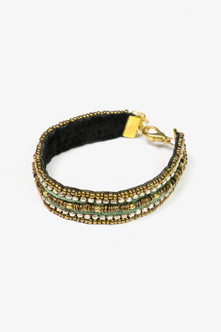 Her Curiosity green and gold embellished velvet band Balu Bracelet 3/4 image