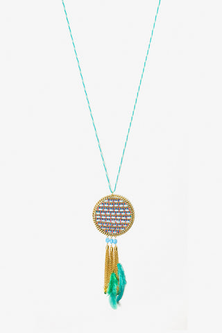 Her Curiosity large beaded pendant with tassels Borneo Necklace full image