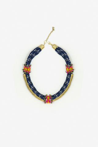 Her Curiosity blue and gold tube Boro Necklace full image