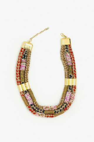 Her Curiosity colourful jute tribal patterned Emilia Necklace full image