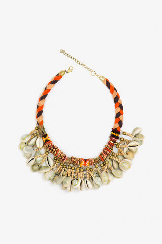 Her Curiosity orange tone neck chain with shell pendants Emonah Necklace full image