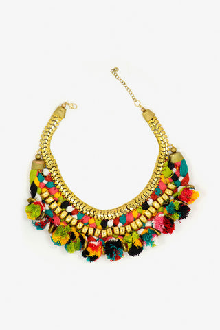 Her Curiosity statement colourful pompom and gold Fernanda Necklace full image