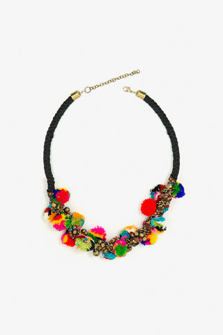 Her Curiosity multicoloured pompom Hanata Necklace full image