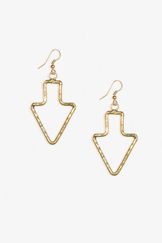 Her Curiosity arrow shaped gold Hulli Earrings full image