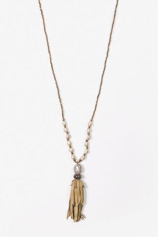Her Curiosity Imelda soft leather tassel and natural stone Necklace full image