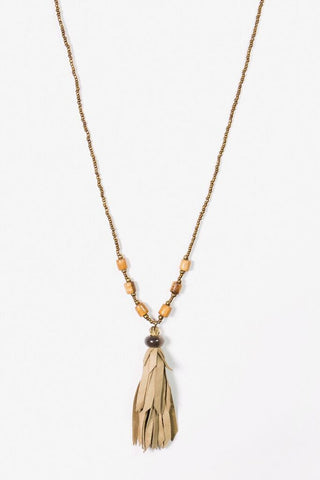 Her Curiosity Imee soft leather tassel Necklace full image