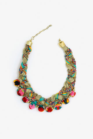 Her Curiosity colourful pompom and gold bead Jalana Necklace full image