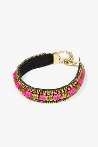 Her Curiosity gold and bright pink embellished velvet band Juliana Bracelet 3/4 image