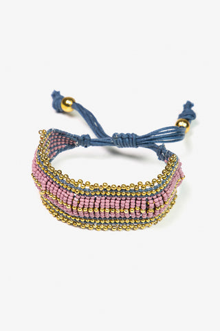Her Curiosity pink and gold beaded Kura Bracelet 3/4 image