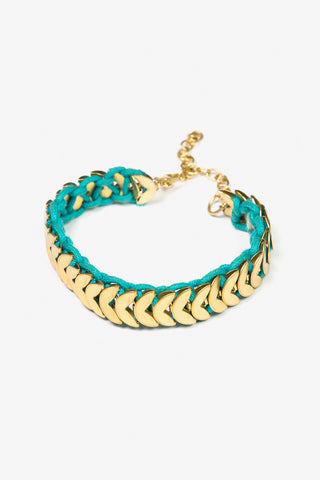 Her Curiosity teal and gold detail Kyme Bracelet 3/4 image