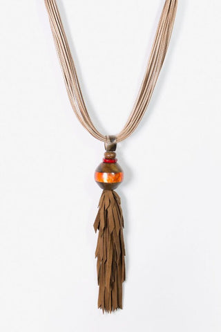 Her Curiosity short resin pendant and soft leather tassel Laarni Necklace - full image