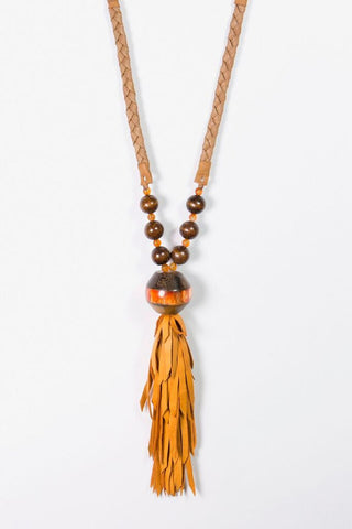 Her Curiosity short resin pendant and orange soft leather tassel Lailani Necklace - full image