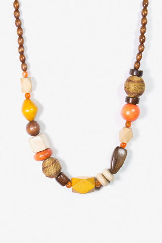 Her Curiosity raffia wooden bead neck chain Ligaya Necklace - full image