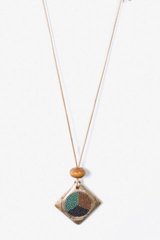 Her Curiosity Malaya Necklace - cord chain with natural wood pendant - full image