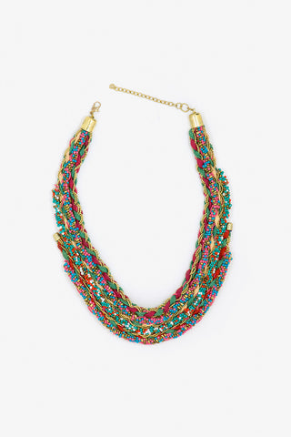 Her Curiosity colourful braided cotton and bead embellished Manisa necklace full image