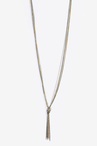 Isabel - Metallic Plated Knot & Tassel Necklace
