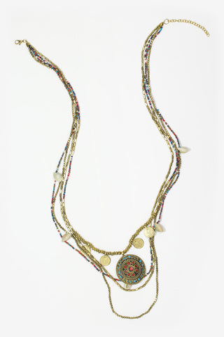Kali - Gold & Multicoloured Tribal Layered Necklace