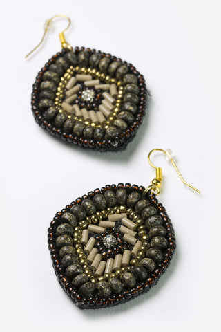 Kama - Brown & Gold Beaded Diamond Earrings Detail Image 2
