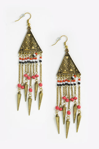 Kasai - Antique Gold Earrings With Beaded Chain Drop Full Image