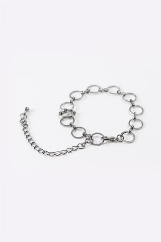 Kora - Gun Black Ring Chain Bracelet - 3/4 view