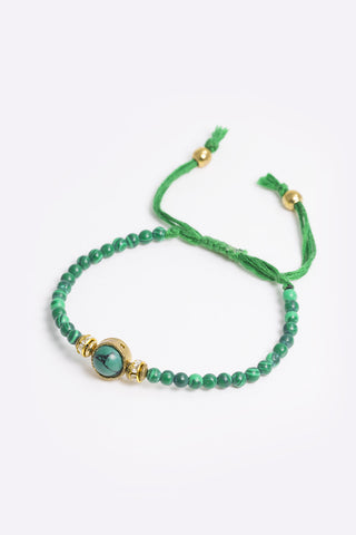 Laila - Green Beaded Rope Bracelet - 3/4 view